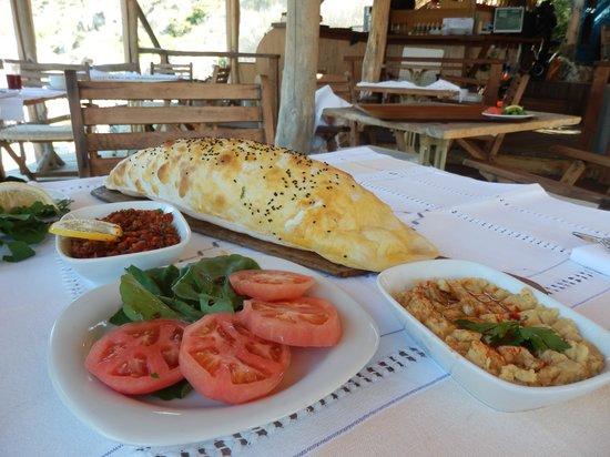 "Deniz Feneri Lighthouse: ""Flat"" bread with mezze at waterside restaurant!"