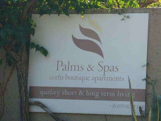 Palms & Spas Corfu Boutique Apartments: Sign from the road