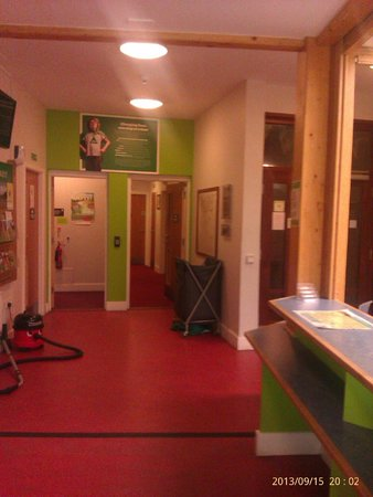 YHA National Forest: Communal kitchen to left & rooms to right. Strip bed on last day and put bedding in bin to right