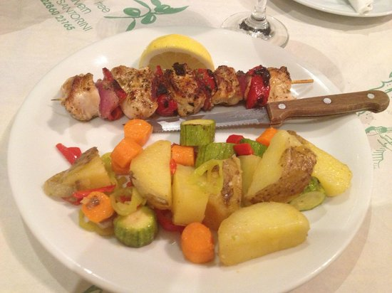 Elia: Chicken souvlaki with grilled vegetables