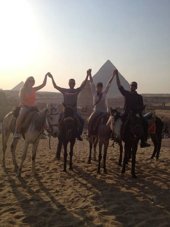 Private Tours Egypt & Excursions - Day Tours: Our guides and us at the Giza Pyramids