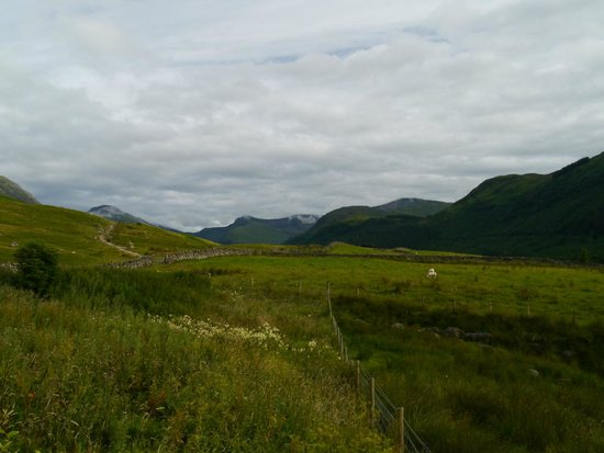 Ben Nevis Inn and Bunkhouse: View from just outside bunkhouse, with Ben Nevis path in foreground