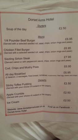Dorset Arms Hotel: A non existant menu did not thrill