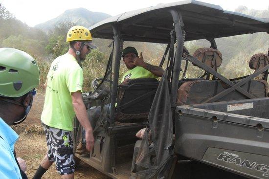 Flyin Hawaiian Zipline : Matt and Joey taking our team up the mountain side by ATV