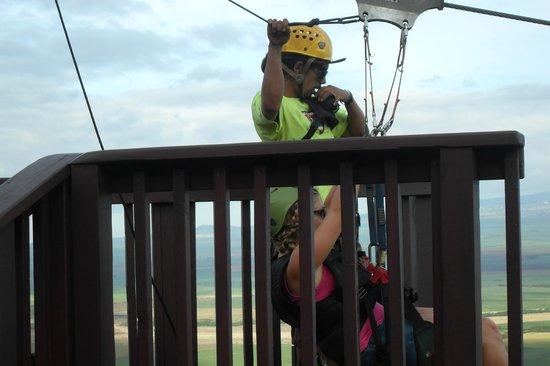 Flyin Hawaiian Zipline : Working with our ziplining group