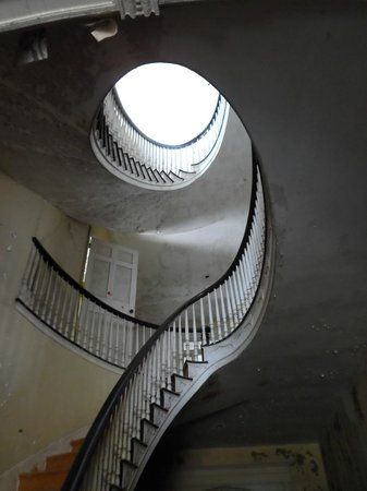 The Dr. Oliver Bronson House: staircase in black and white