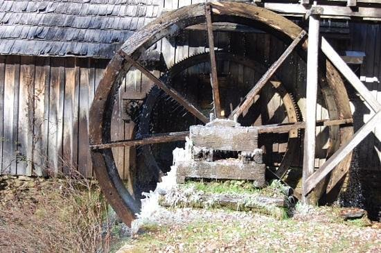 Mabry Mill: Ice on the Mill Wheel.