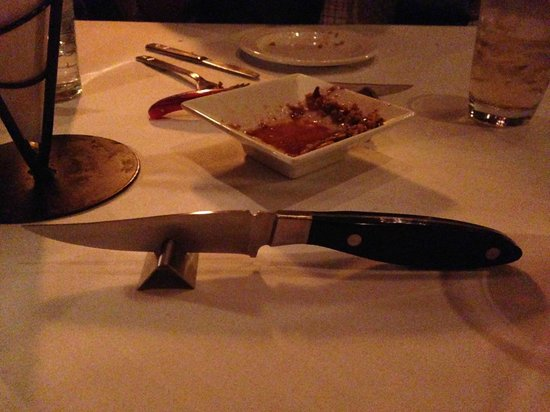Level 2 Steakhouse: My weapon of choice for the night--a Fortessa Lexington Non-Serrated Knive