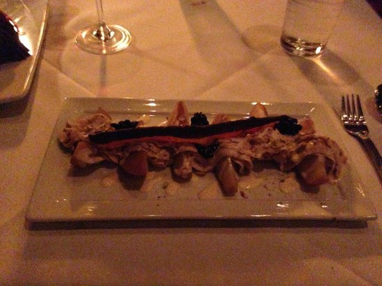 Level 2 Steakhouse: Espresso poached pears with mascarpone and chocolate dipped bacon
