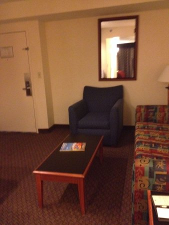 Richmond Airport Hotel : Old decor.  Very spacious but didn't even sit down on the couch.  Couldn't see if it was clean o