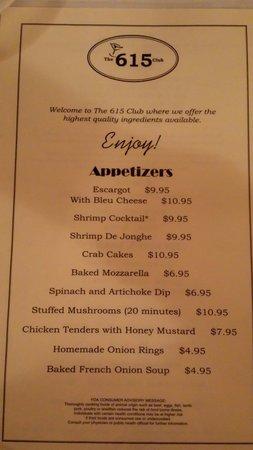 The 615 Club: Appetizer menu pic