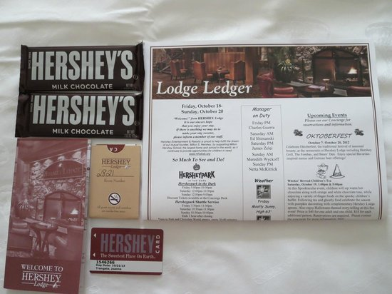 Hershey Lodge : Two Hershey Bars, Our room keys and misc paperwork given upon check-in