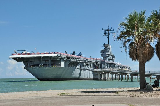 Uss Lexington The Looks Very Natural Sitting Alongside North Beach In Corpus Christi