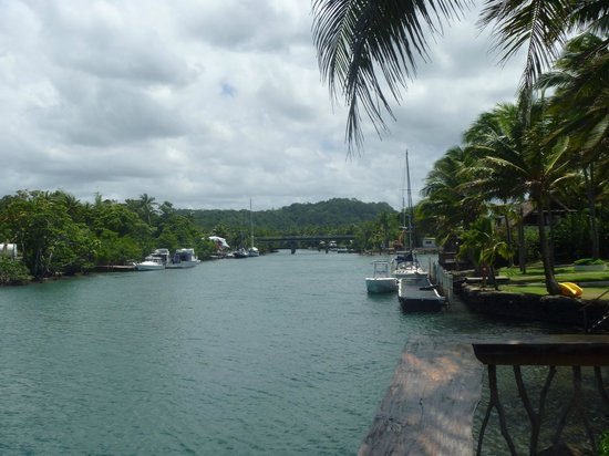 The Pearl Resort: View of the boat harbor adjacent to the hotel grounds