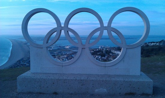 No. 35 at The New Inn : View from Portland Heights Olympic ring sculpture