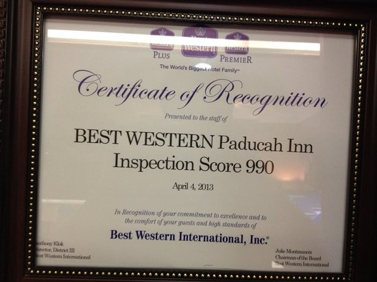 BEST WESTERN Paducah Inn: Inspection scrore 990 out of 1000