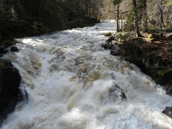 Braan River Falls from Ossian's Hall in April 2013