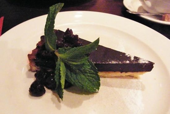 a room in the west end and Teuchters bar: Dark Chocolate Tart with Dark Cherry Compote