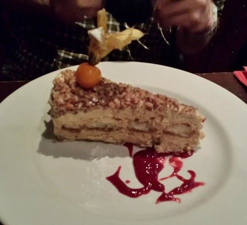 a room in the west end and Teuchters bar: Coffee, Frangelico and Pecan Tart with Raspberry Coulis