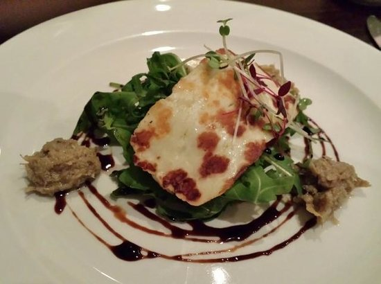a room in the west end and Teuchters bar: Pan-fried Halloumi on Crisp Rocket with Artichoke Tapenade and Balsamic