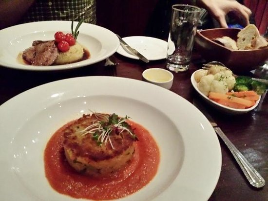 a room in the west end and Teuchters bar: Sweet Potato, Scallion and Pecan Couscous Cake with Sunblushed Tomato Coulis