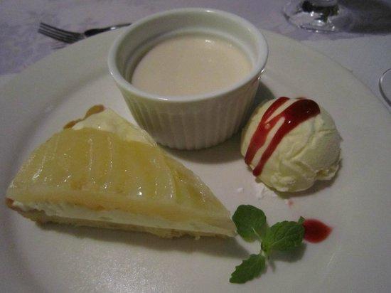 Cleleste Shodoshima: デザート 洋梨のタルト、小豆島のお醤油のパンナコッタ、アイスクリーム