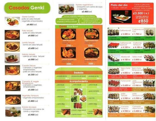 Genki Sushi & Deli: Daily Menu (Back)