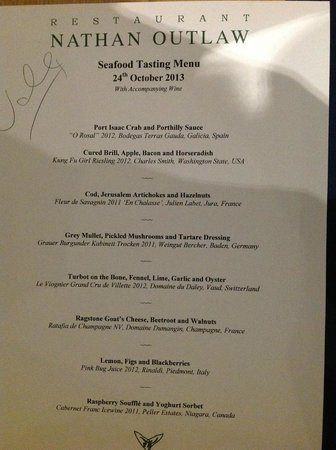 Restaurant Nathan Outlaw: Our menu...