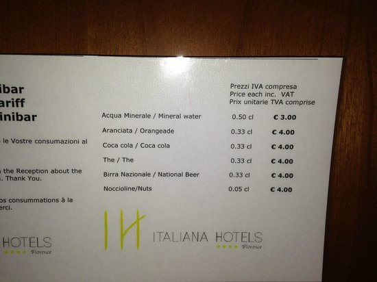 Italiana Hotels Florence : mini bar