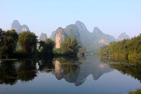 Yangshuo Mountain Retreat: View from the hotel grounds at sunrise