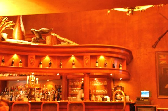 The Pillar and Post Inn, Spa and Conference Centre : Curved wood bar and fireplace