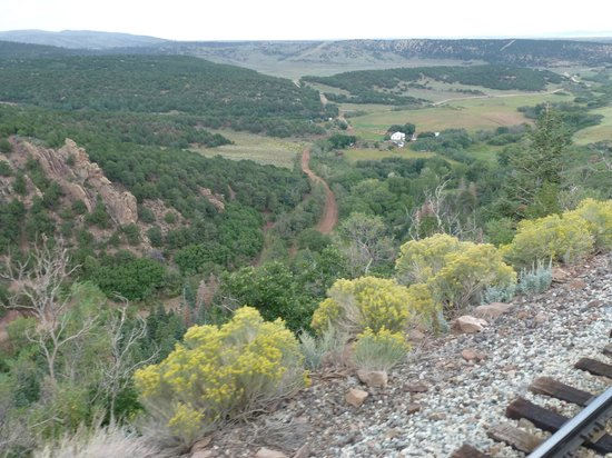 Rio Grande Scenic Railroad: View from rear of train.