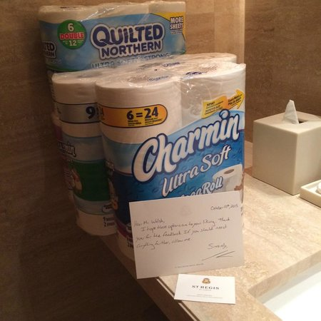 "The St. Regis Bal Harbour Resort: Just some of the toilet tissue ""testing"" project"