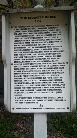 Colonel's Cottage Inns: Historical marker about Chapeze House (Bourbon House)