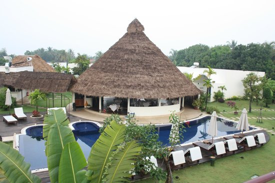 Navutu Dreams Resort & Wellness Retreat: View of the freshwater pool and main restaurant from the roof