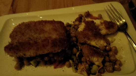 Rhubarb Restaurant: Haddock on salad with one piece partially devoured!