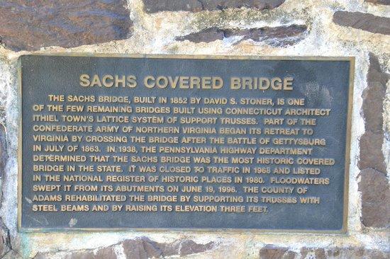 Sachs Covered Bridge: Plaque