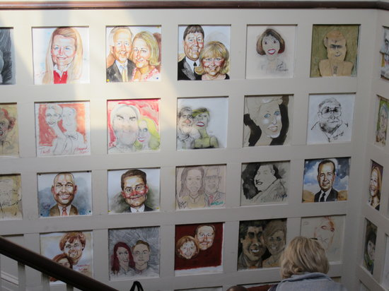 The Warehouse: Wall of caricatures.