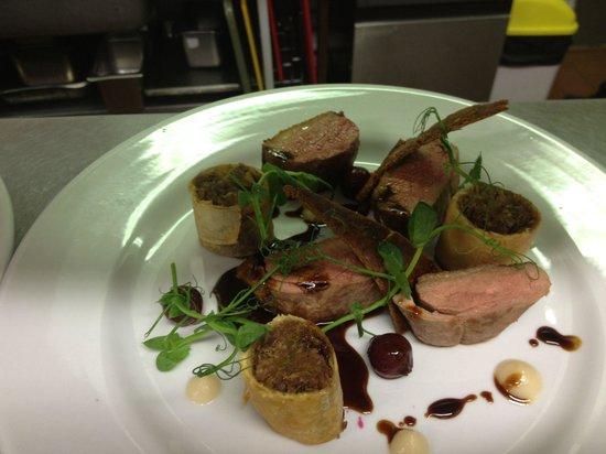 The Boathouse: Roast barbarie duck breast, duck leg Pastilla, pear, gingerbread, black cherry