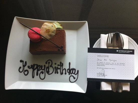 The Chelsea Harbour Hotel: Surprised to find welcome cake and card for my sister's birthday THANK YOU Wyndham !