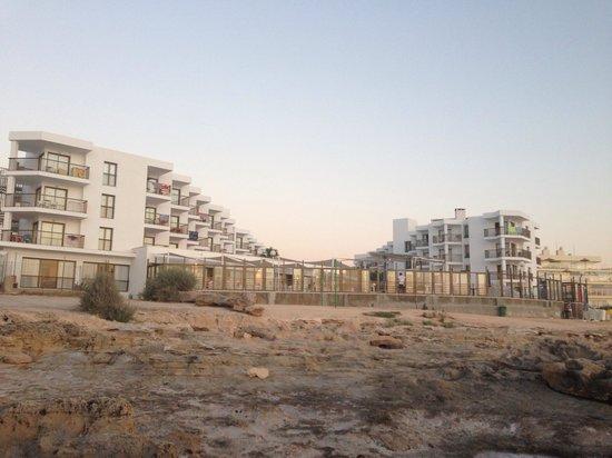 Nereida Aparthotel: Hotel from rocky beach