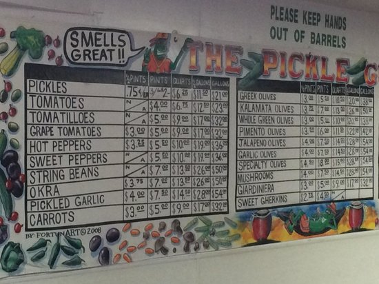 Brooklyn, NY: menu board at The Pickle Guy