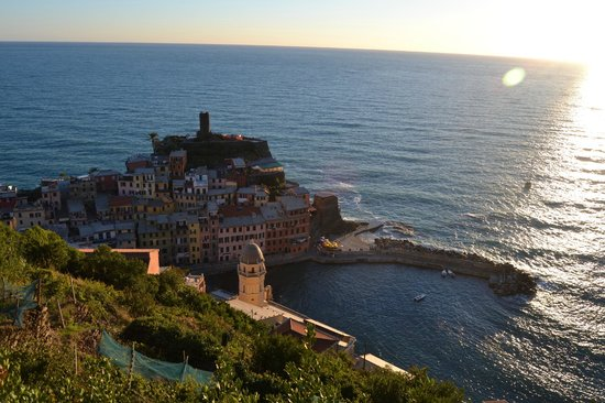 Trattoria Gianni Franzi: View of vernazza from the hilltops. (hotel is to the left of the tower, pink bldg)