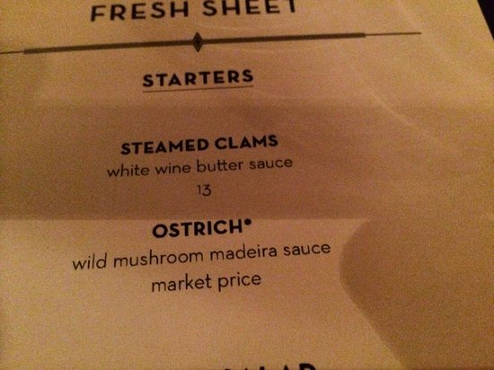 El Gaucho Tacoma: Ostrich at $34 for a few ounces is amazingly expensive.