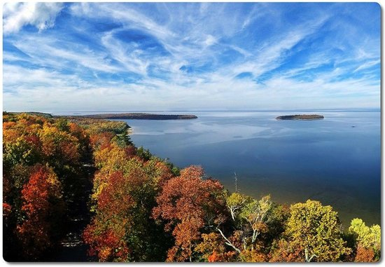 Peninsula State Park: View from Eagle Tower (north toward Horseshoe Isl / Nicolet Bay)