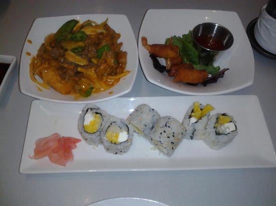 Spring Rolls: red curry, mini shrimp rolls, sushi roll