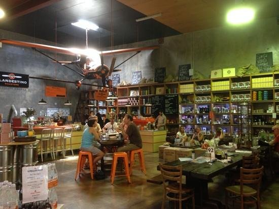 Belmondos Organic Market: awesome plane hanging from the ceiling