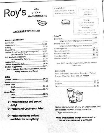 Roy's Allsteak Hamburger and Golf center : Roy's lunch & dinner menu