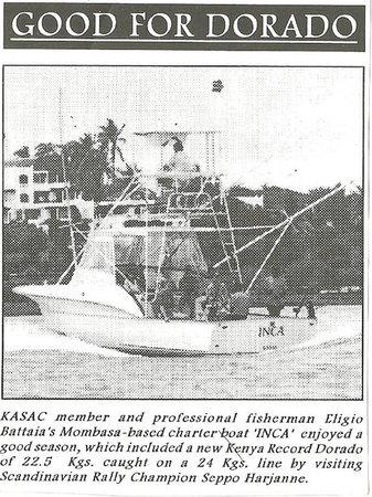 Deep Sea Fishing : A new Kenya record Dorado, 22.5 Kgs