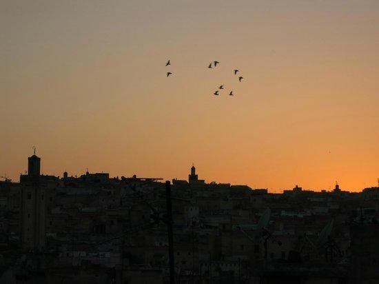 Dar Melody: Sicht von der Dachterrasse bei Sonnenuntergang